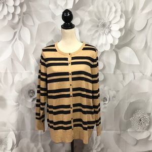 Lands' End Striped Long Sleeve Cardigan 1X